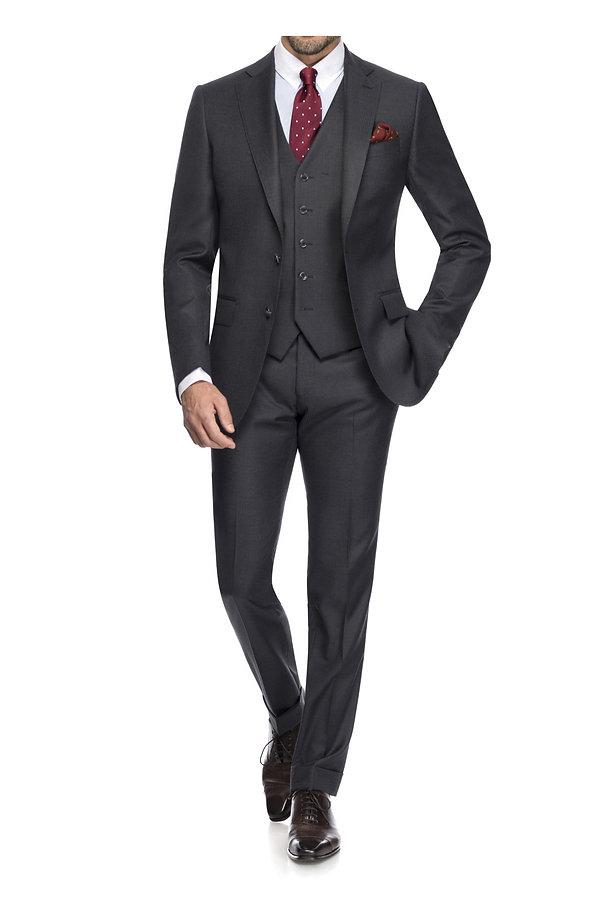 Costume trois pièces gris et cravate à pois By Monsieur