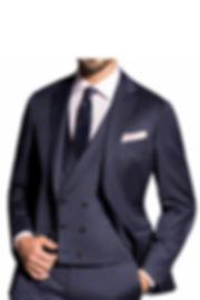 Costume bleu marine trois pièces fines rayures By Monsieur