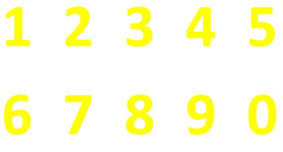 Dayglo Number Stickers Windscreen