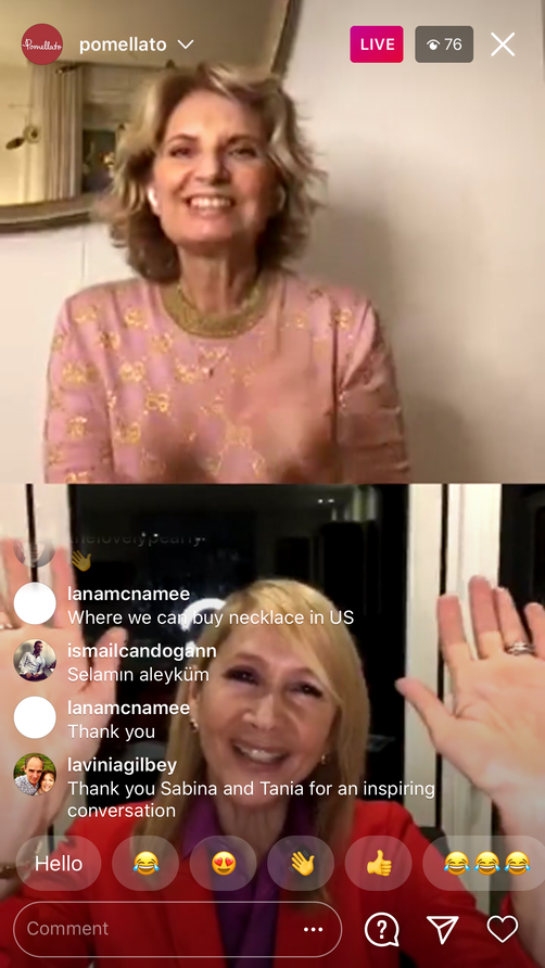 Instagram Live: Tania & Pomellato's Sabina Belli fundraise for Cancer Research UK