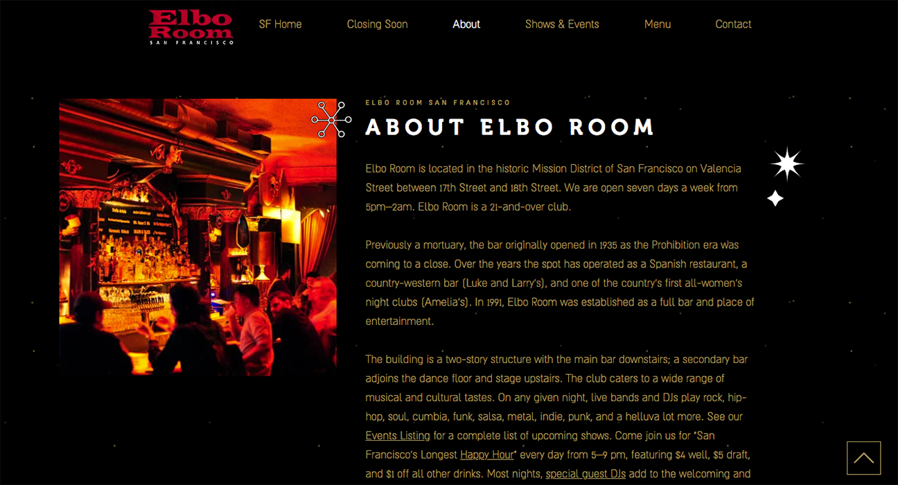 Elbo Room website design