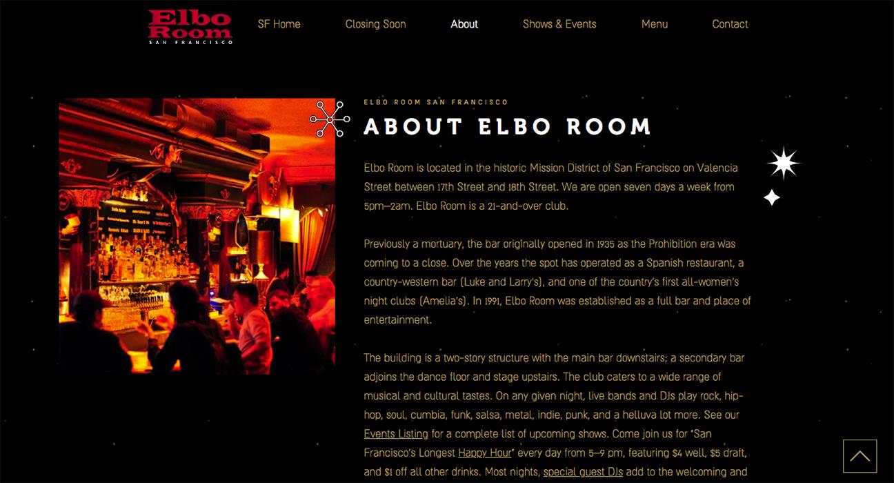 Elbo Room website design