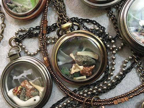 Pocket Watch Curio Necklace: Pyrite, Bone, & Copper (007)