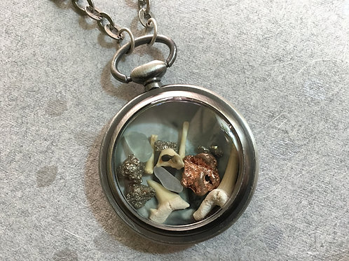 Pocket Watch Curio Necklace: Mineral, Metal, & Bone (004)