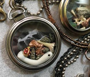 Pocket Watch Curio Necklace: Ladybug, Doll, & Shark (001)