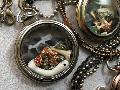 Pocket Watch Curio Necklace: Ladybug, Doll, & Shark (001)