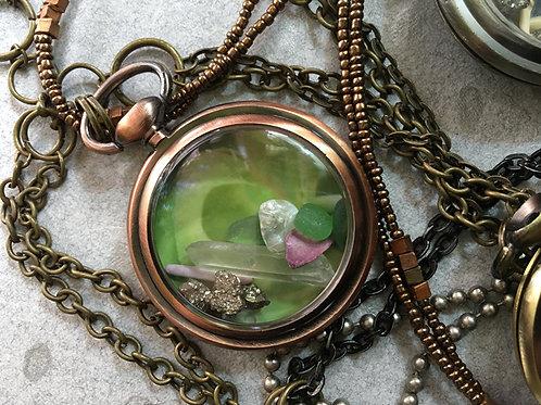Pocket Watch Curio Necklace: Earth, Ocean, & Quartz (005)
