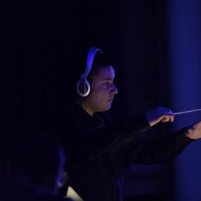 """Pocket Symphonies"". Sven Helbig (composer and electronics), Charlene Farrugia (piano), Malta Philharmonic Orchestra (MPO). Robert Samut Hall (Malta), 2020. Photo: Darren Agius (2)"