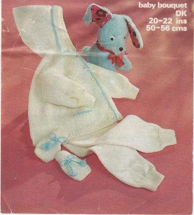1615M baby pram suit vintage knitting pattern  PDF Download
