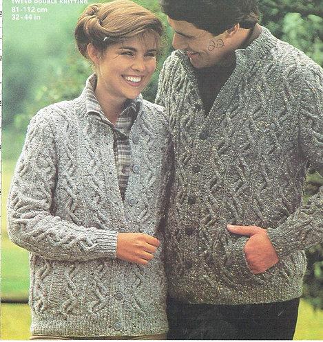 4818 ladies and mens cardigan Vintage knitting pattern  PDF Download