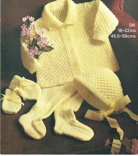 1853M baby pram suit vintage knitting pattern  PDF Download
