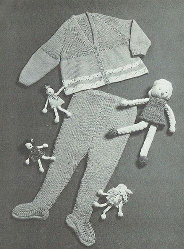 Baby pram set vintage knitting pattern  PDF Download