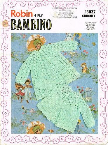 13037R baby matinee coat dress set vintage crochet pattern  PDF Download