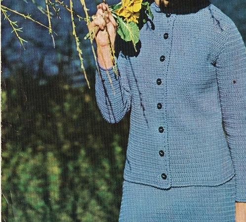 4096 ladies cardigan skirt suit vintage crochet pattern PDF Download