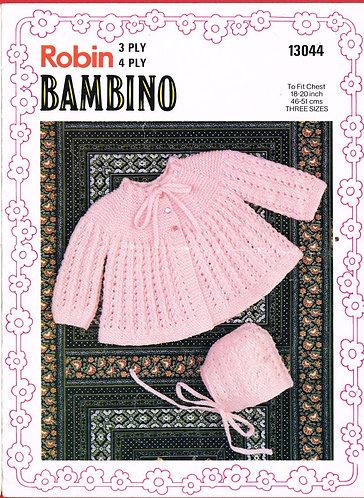 13044R baby matinee coat set vintage knitting pattern  PDF Download
