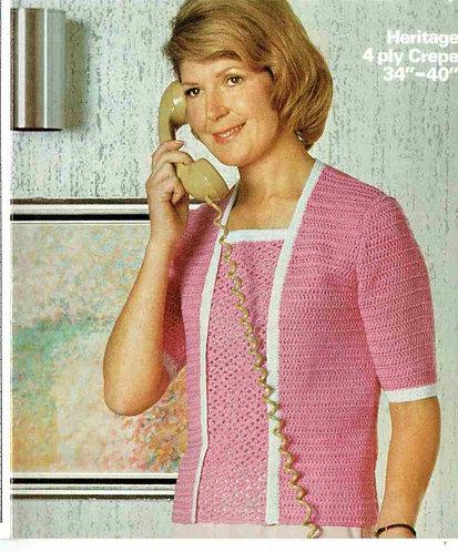 1590 ladies summer top Vintage crochet pattern  PDF Download