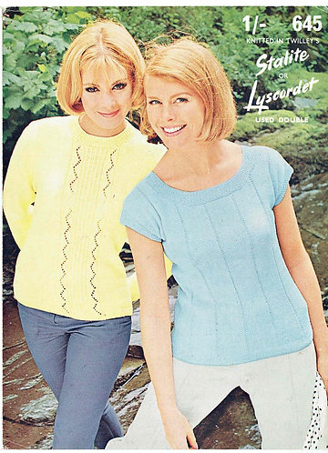 645T ladies summer tops vintage knitting pattern  PDF Download