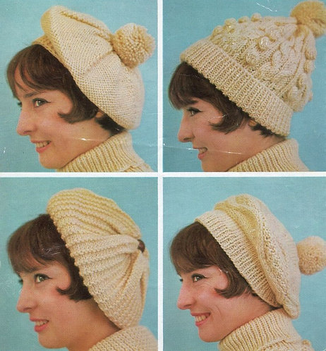 1048H ladies aran hats Vintage knitting pattern  PDF Download