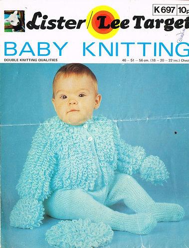697LT baby pram suit set vintage knitting pattern  PDF download