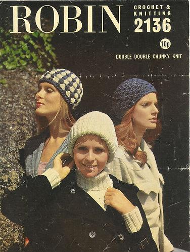 2136R ladies beanie hats vintage knitting & crochet pattern  PDF Download