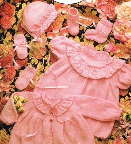 797J baby dress matinee coat set vintage knitting pattern  PDF Download