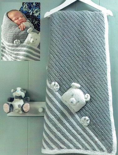 Teddy baby blanket vintage knitting pattern