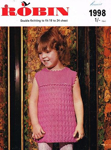 1998R baby dress vintage knitting pattern  PDF Download
