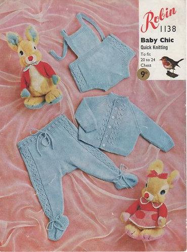 1138R baby pram suit vintage knitting pattern  PDF Download