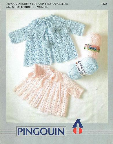 1423Pi baby matinee coats vintage crochet pattern PDF Download