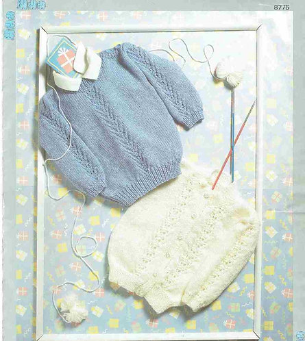 8775P baby jumper cardigan vintage knitting pattern  PDF Download