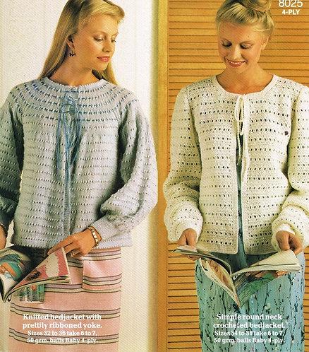 8025P ladies bedjacket vintage knitting pattern  PDF Download