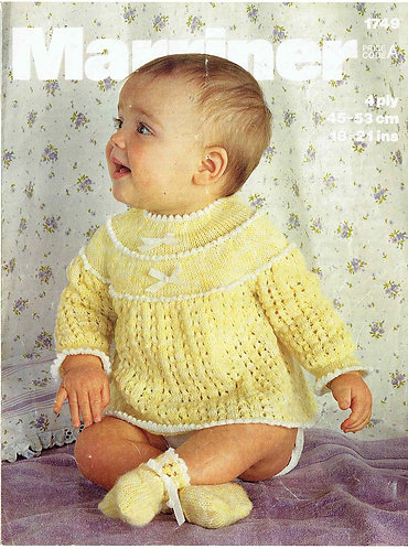 1749M baby dress vintage knitting pattern  PDF Download