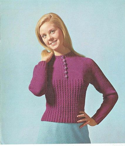 5162S ladies jumper vintage knitting pattern PDF Download