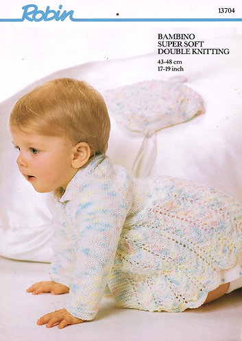 13704R baby matinee coat vintage knitting pattern  PDF Download