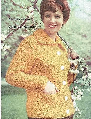 199H ladies cardigan Vintage knitting pattern  PDF Download