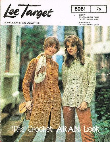 8961Lt ladies cardigan coat vintage crochet pattern  PDF Download