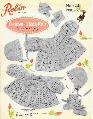823R baby matinee coat set vintage knitting pattern  PDF Download
