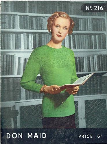 Don Maid 216 ladies jumper vintage knitting pattern PDF Download