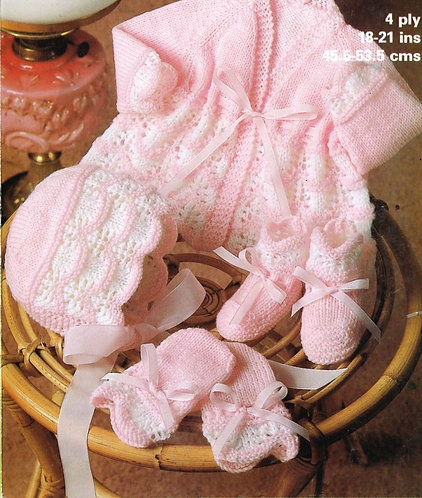 1931M baby matinee coat set vintage knitting pattern   PDF Download