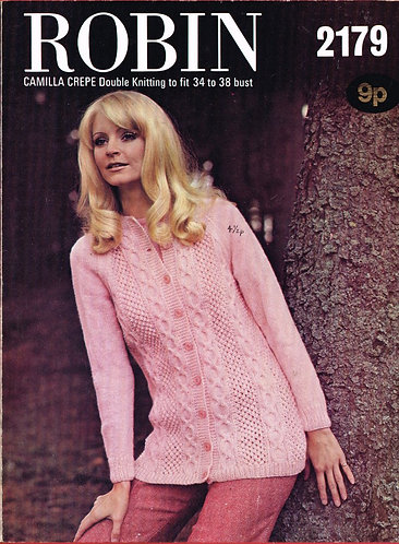 2179R ladies cardigan vintage knitting pattern  PDF Download