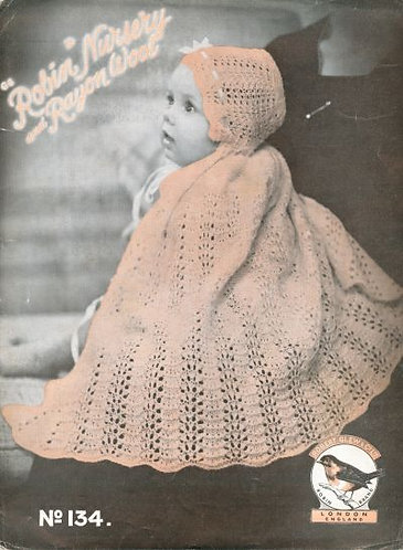 134R baby cape vintage knitting pattern  PDF Download