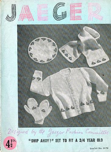 3178Ja baby cardigan vintage knitting pattern  PDF Download