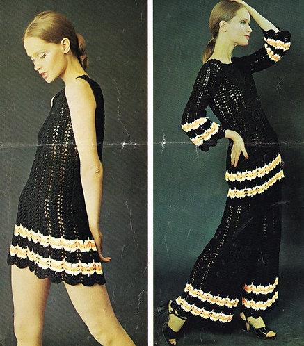 61T ladies dress trouser suit vintage crochet pattern  PDF Download