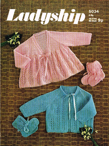 5034La baby vintage knitting pattern PDF