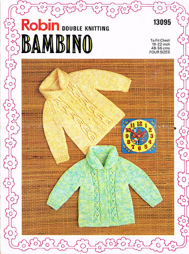13095R baby hoodie cardigan vintage knitting pattern  PDF Download