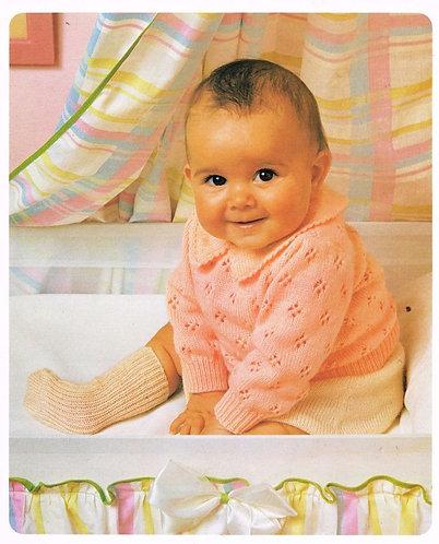 8706P baby jumper set Vintage knitting pattern  PDF Download