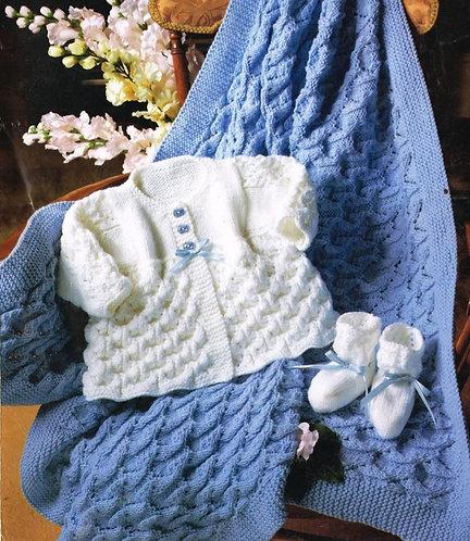 675PG baby matinee coat shawl set vintage knitting pattern  PDF Download