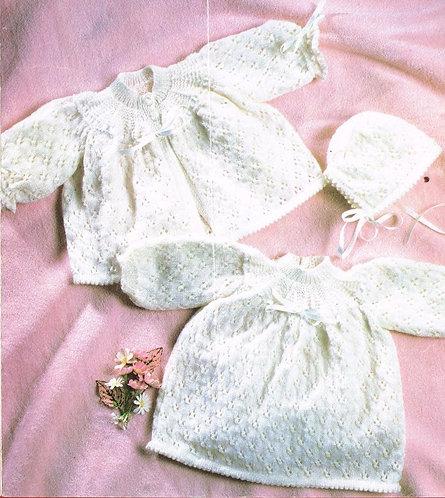 710L baby matinee coat set vintage knitting pattern  PDF Download