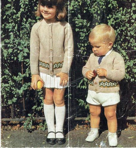1268m baby cardigan vintage knitting pattern  PDF Download