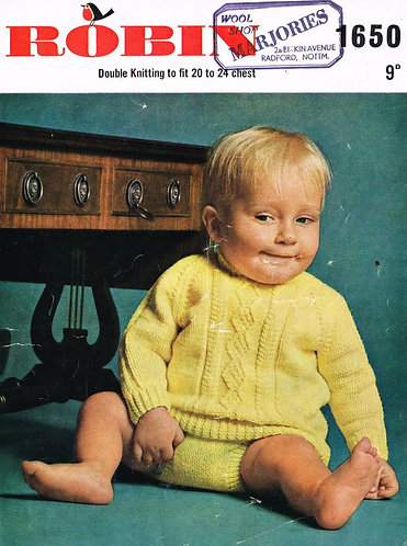 1650R baby jumper set vintage knitting pattern  PDF Download